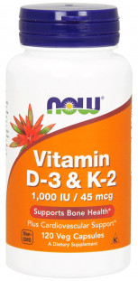 NOW Vitamin D-3/K-2 1000 М.Е./45 мкг (120 кап)